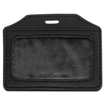 "Advantus 3"" x 4"" Horizontal Leather-Look Badge Holder  Black  5/Pack 76342"