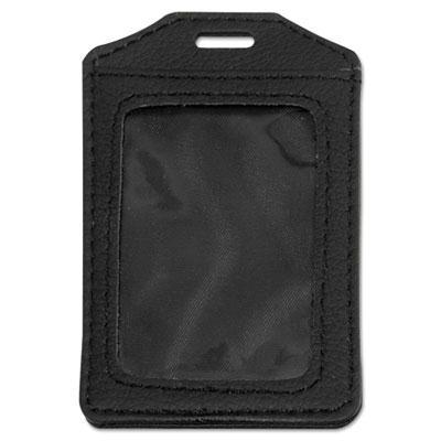"Advantus 3"" x4"" Vertical Leather-Look Badge Holder  Black  5/Pack 76343"