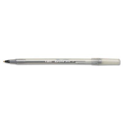 Bic Round Stic 0.8 Mm Fine Stick Ballpoint Pens Black 12-pack