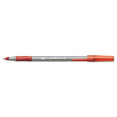Bic Round Stic Grip 0.8 Mm Fine Stick Ballpoint Pens Red 12-pack