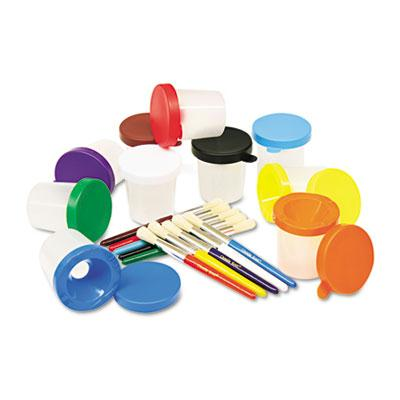 Creativity Street No-Spill Cups & Coordinating Brushes  Assorted Colors  10/Set 5104