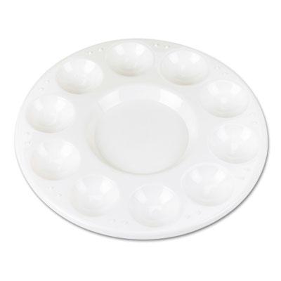 Chenille Kraft Round Plastic Paint Trays For Classroom White 10/pack