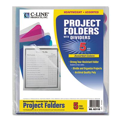 C-line Multi-section Letter Project Folders With Dividers Assorted 5-pack