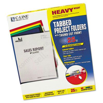 C-line Heavyweight Tabbed Letter Poly Jacket Folders Assorted 25/box