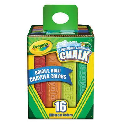 "Crayola Washable 4-1/16"" Sidewalk Chalk Assorted 16-sticks"
