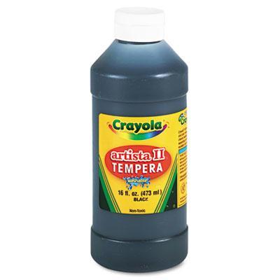 Crayola Artista II 16 oz Washable Tempera Paint  Black 543115051