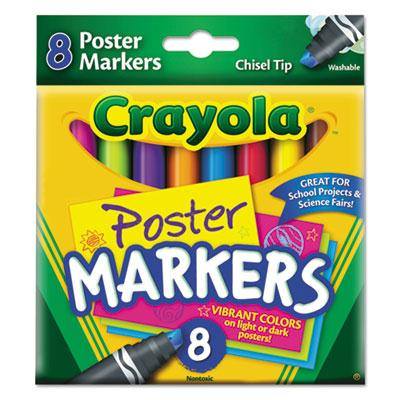 Crayola Washable Poster Marker  Chisel Tip  Assorted  8-Pack 588173