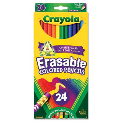 Crayola Erasable 3.3 Mm Assorted Colors Woodcase Pencils 24-pack