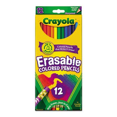Crayola Erasable 3.3 Mm Assorted Colors Woodcase Pencils 12-pack