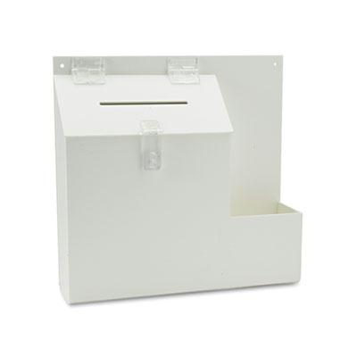 "Deflect-o Suggestion Box with Lock  13.8"" W x 3.6"" D x 13"" H  White 79803"