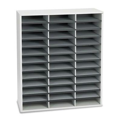 Fellowes 36-Compartment Fiberboard Mail Sorter  Gray 25061