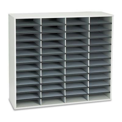 Fellowes 48-Compartment Fiberboard Mail Sorter  Gray 25081