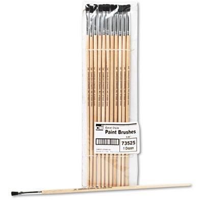 Charles Leonard Size 4 Flat Natural Bristle Long Handle Easel Brush 12/pack