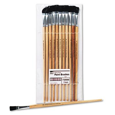 Charles Leonard Size 12 Flat Natural Bristle Long Handle Easel Brush 12/pack