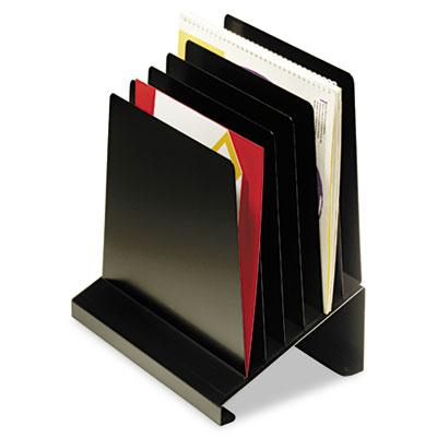 Slanted Vertical Organizer, Six Sections, Steel, 11 x 7 1/4 x 11 1/2, Black 264R806BK