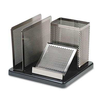Distinctions Desk Organizer, 5 7/8 x 5 7/8 x 4 1/2, Metal/Black E23552