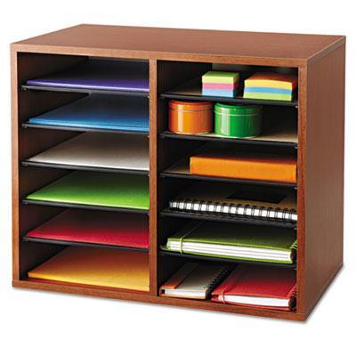 Fiberboard Literature Sorter, 12 Sections, 19 5/8 x 11 7/8 x 16 1/8, Cherry 9420CY