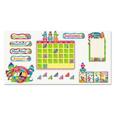 "Trend Sock Monkeys 17-1/2"" x 23-1/4"" Calendar Bulletin Board Set  100 Pieces T8416"