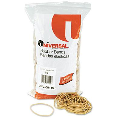 "Universal 3-1/2"" x 1/16"" Size #19 Rubber Bands  1 lb. Pack 00119"