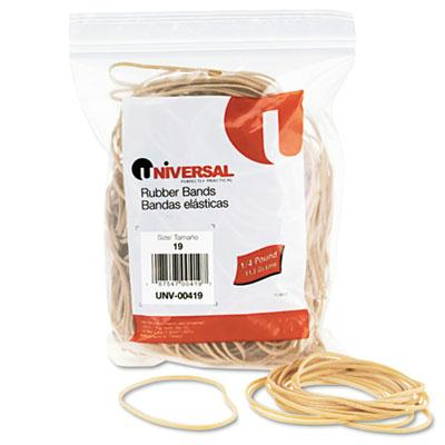 "Universal 3-1/2"" x 1/16"" Size #19 Rubber Bands  1/4 lb. Pack 00419"