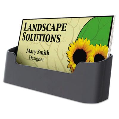 Universal Recycled Plastic Business Card Holder  Holds 50 3 1/2 x 2 Cards  Black 08109