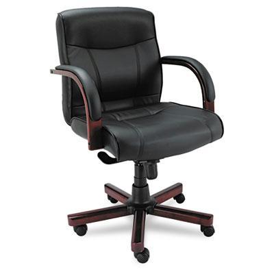 Alera Madaris Ma42ls10m Knee-tilt Leather Wood Mid-back Office Chair