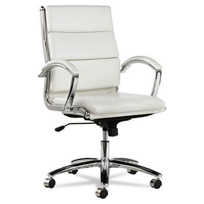 Alera Neratoli Nr4206 Slim Profile Leather Mid-back Task Chair White