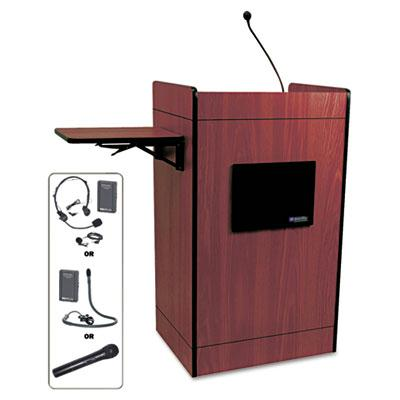 Amplivox Multimedia Computer Lectern With Wireless Sound System Mahogany