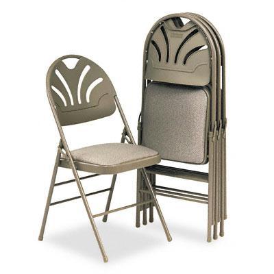 Bridgeport Fanfare 36875kn Molded Plastic-back Fabric Folding Chair 4-pack