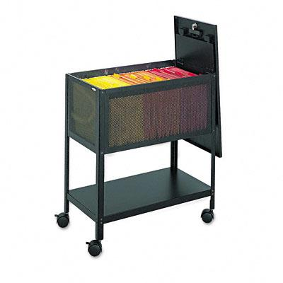 Safco Open Top Mesh Tub File Cart with Lid 5351BL