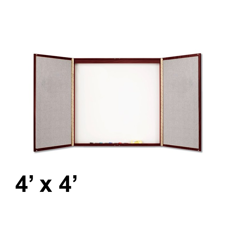 Quartet 4' x 4' Mahogany Laminate Whiteboard Bulletin Board Conference Room Cabinet 878