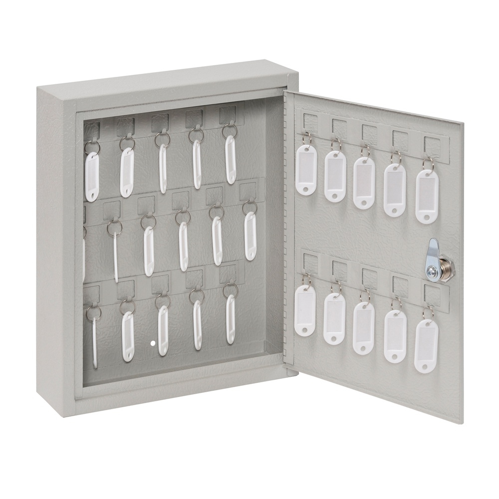 Buddy Products 28 Key Hook Key Cabinet Platinum 0128-32